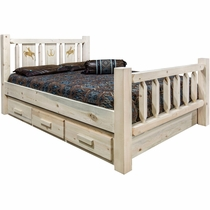 Ranchman's Storage Bed with Laser-Engraved Bronc Design - King