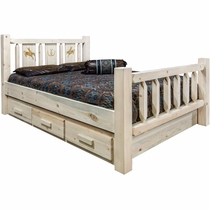 Ranchman's Storage Bed with Laser-Engraved Bronc Design - Queen