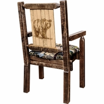 Ranchman's Woodland Upholstery Captain's Chair with Laser-Engraved Bear Design