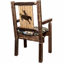 Ranchman's Woodland Upholstery Captain's Chair with Laser-Engraved Bronc Design