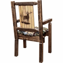 Ranchman's Woodland Upholstery Captain's Chair with Laser-Engraved Elk Design
