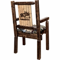 Ranchman's Woodland Upholstery Captain's Chair with Laser-Engraved Moose Design