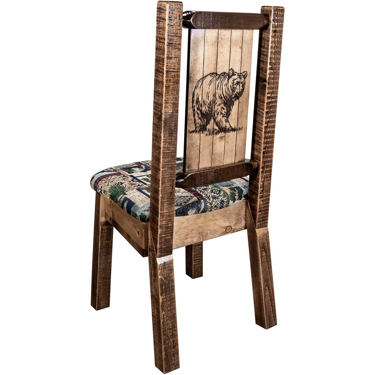 Ranchman's Woodland Upholstery Side Chair with Laser-Engraved Bear Design