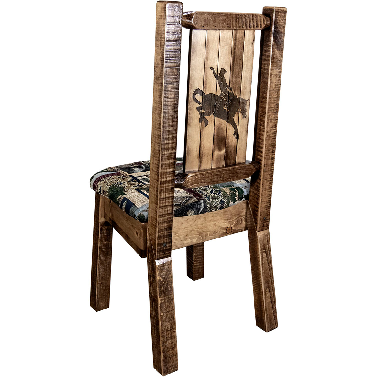 Ranchman's Woodland Upholstery Side Chair with Laser-Engraved Bronc Design