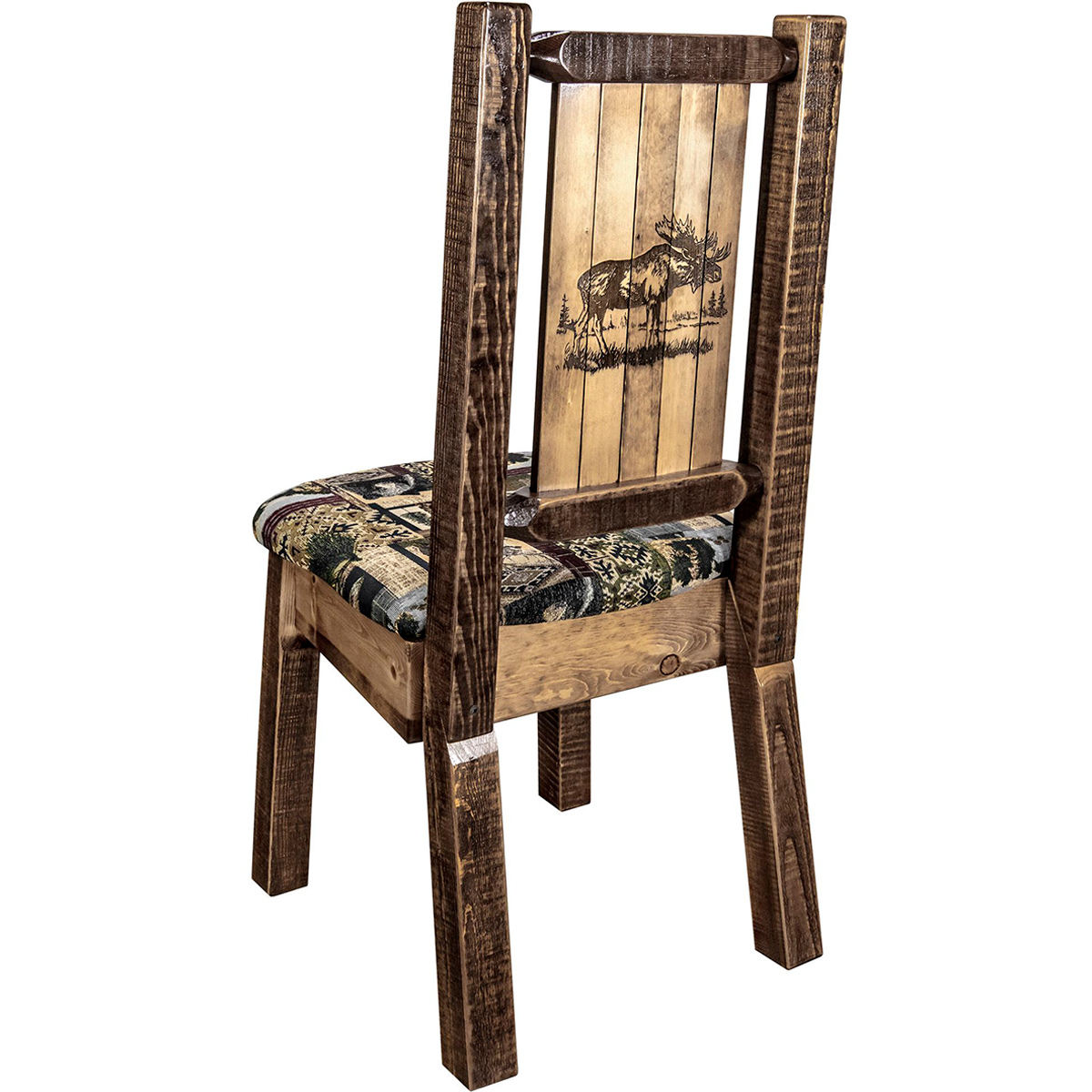 Ranchman's Woodland Upholstery Side Chair with Laser-Engraved Moose Design