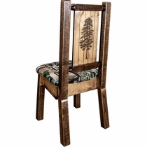 Ranchman's Woodland Upholstery Side Chair with Laser-Engraved Pine Tree Design
