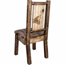 Ranchman's Woodland Upholstery Side Chair with Laser-Engraved Wolf Design
