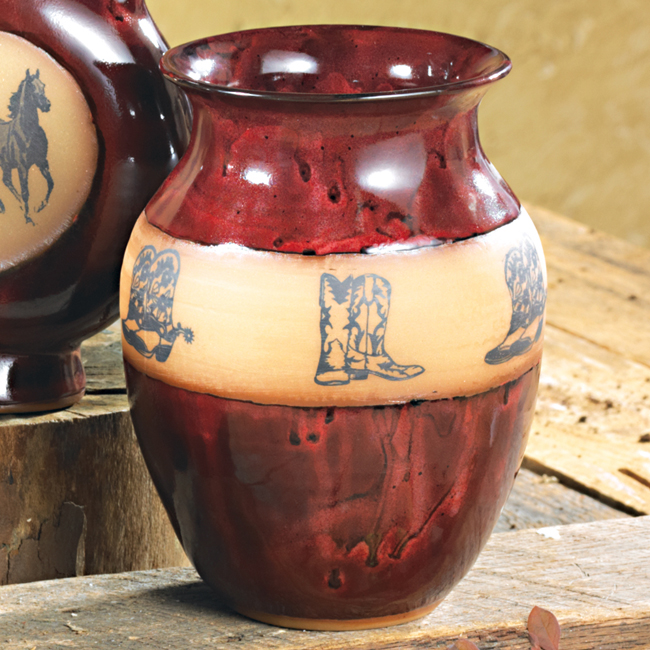 Real Red Boots Medium Pottery Vase