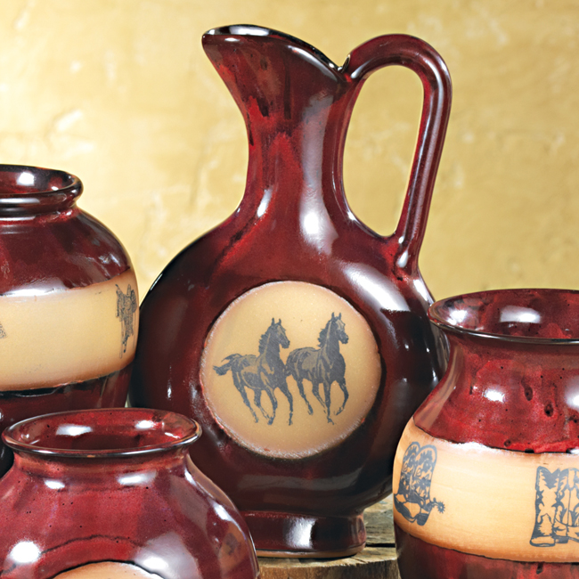 Real Red Double Horse Pottery Pitcher