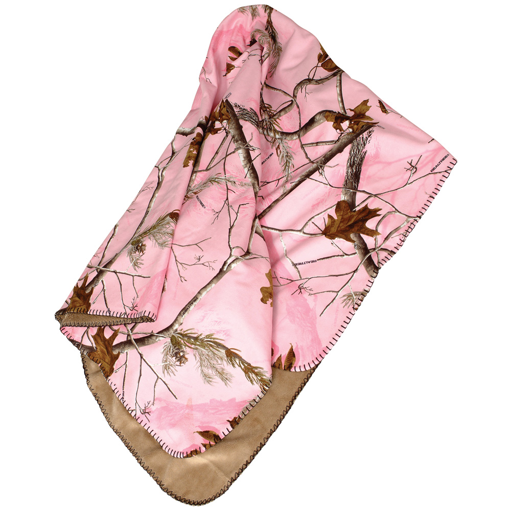 Realtree AP Pink Blanket-Stitch Throw