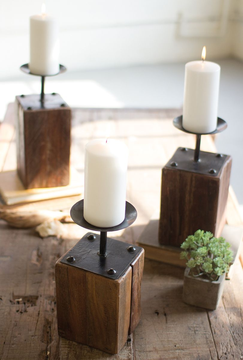 Reclaimed Wood Candle Holders - Set of 3 - OUT OF STOCK UNTIL 4/14/2021
