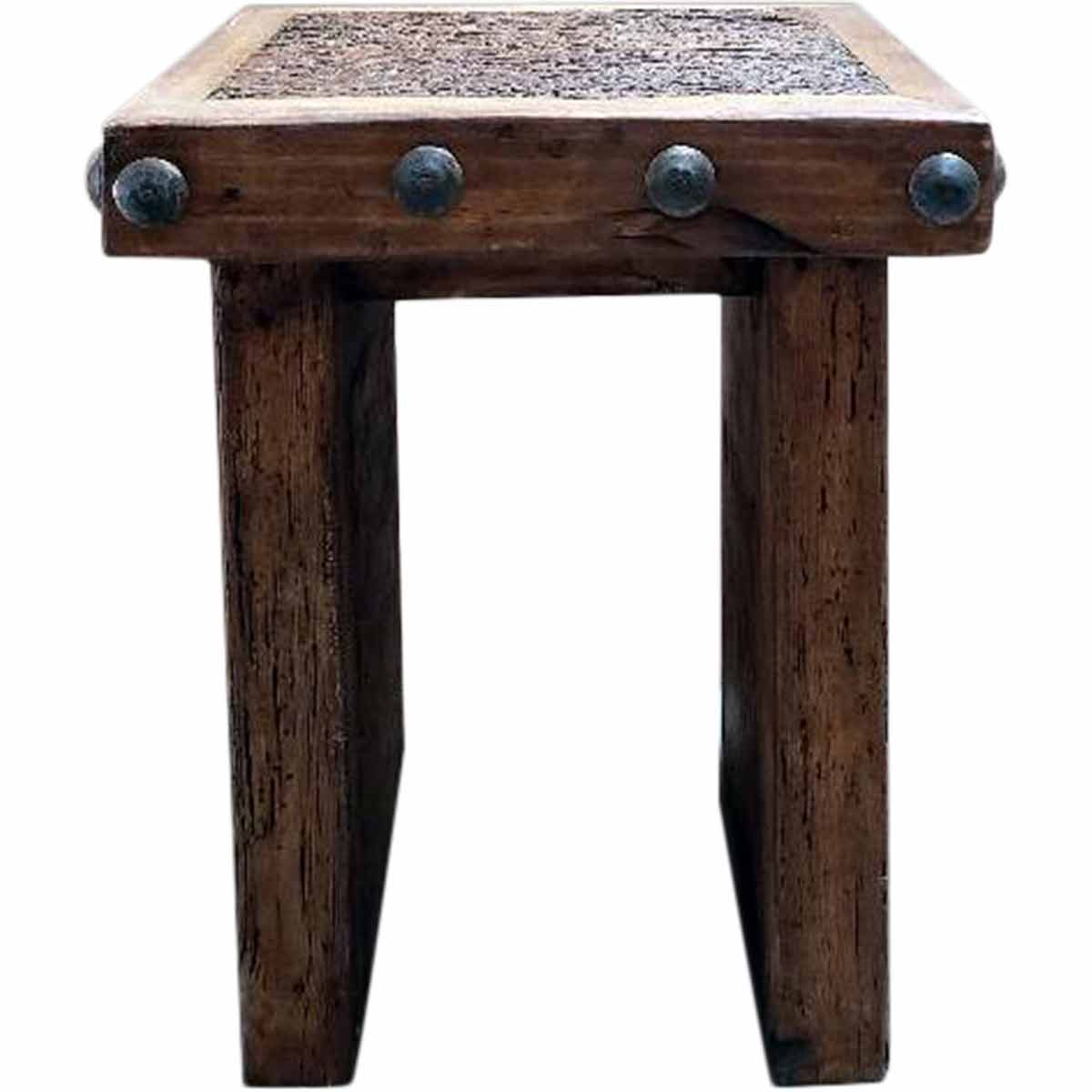 Recycled Wood Beam Side Table