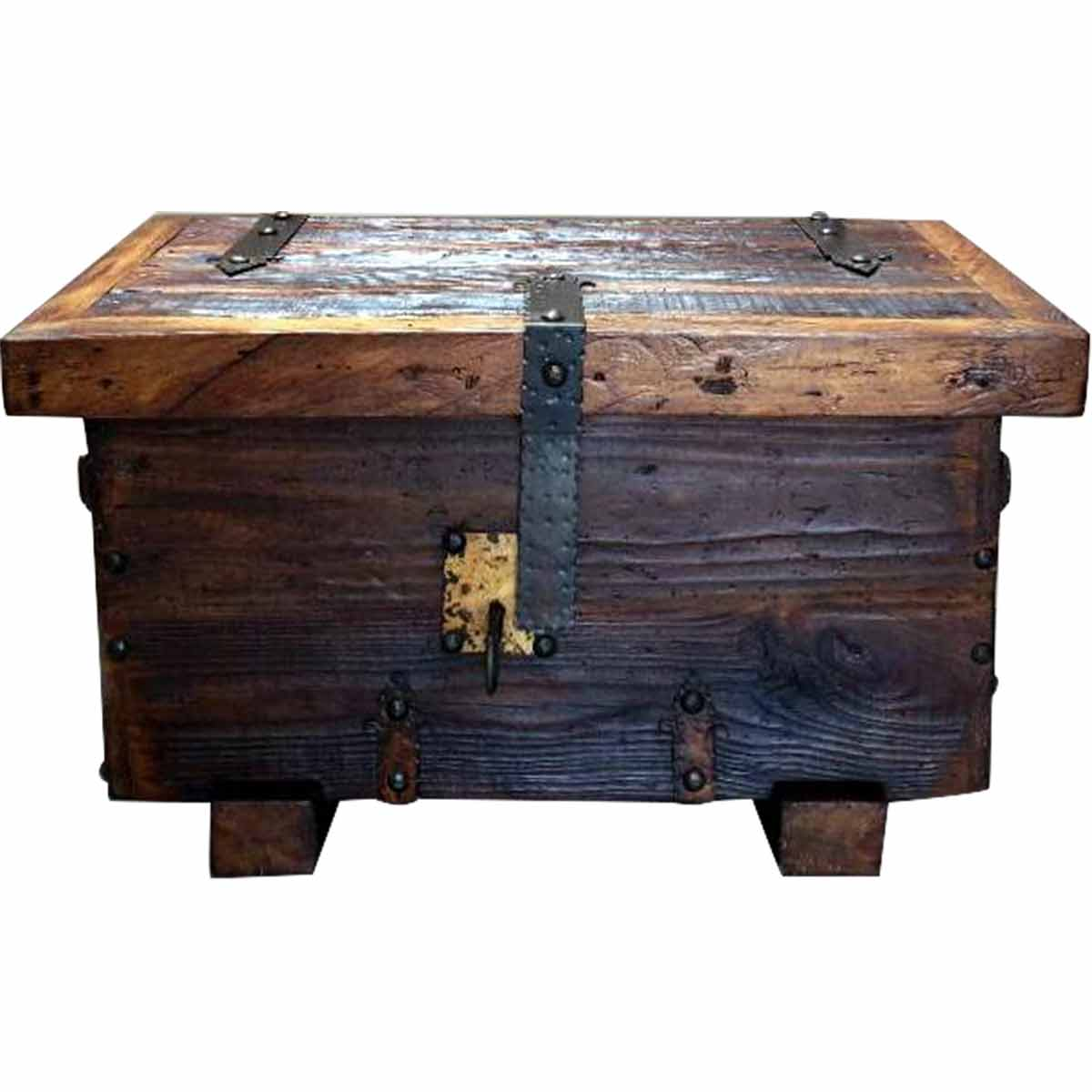 Recycled Wood Chest with Lock and Key