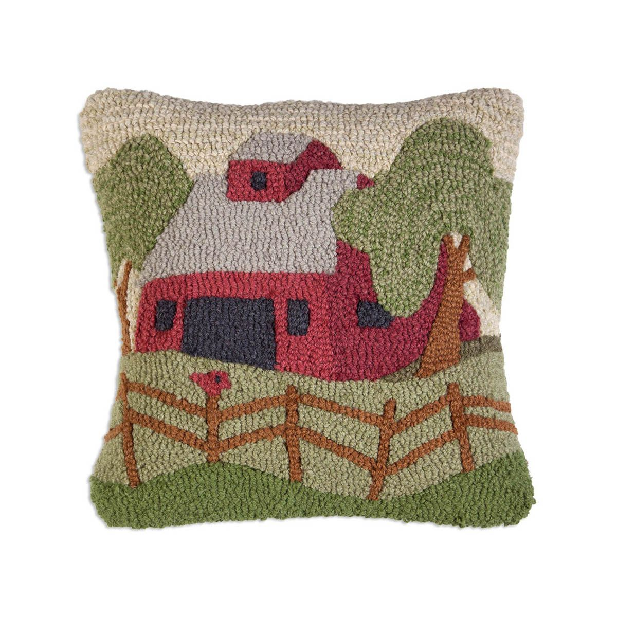 Red Barn Hooked Wool Pillow