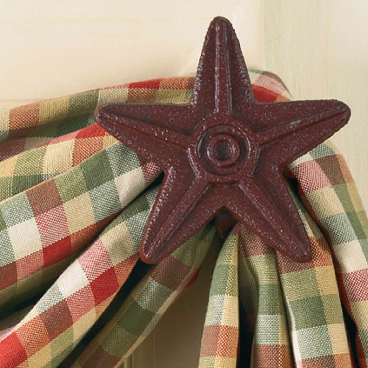 Red Cast Iron Star Curtain Hooks - Set of 2