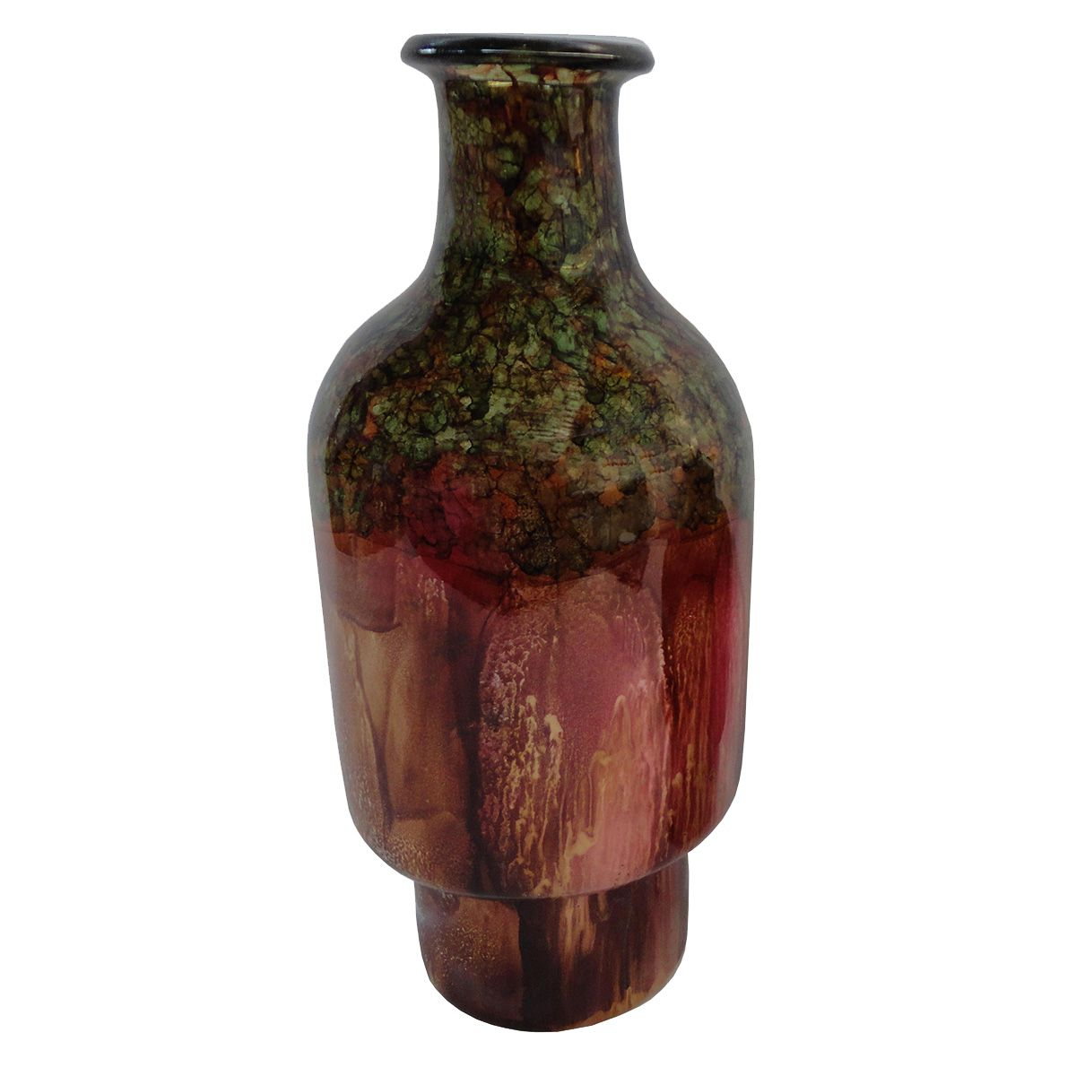 Red Earth Thin Curvy Vase