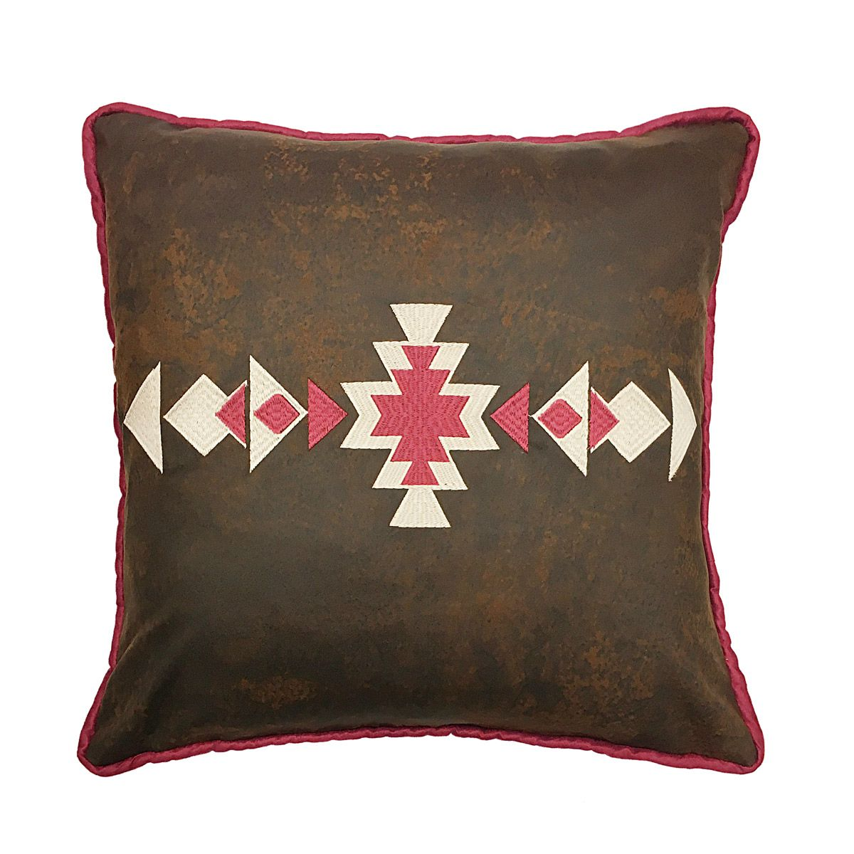 Red Embroidered Faux Leather Pillow