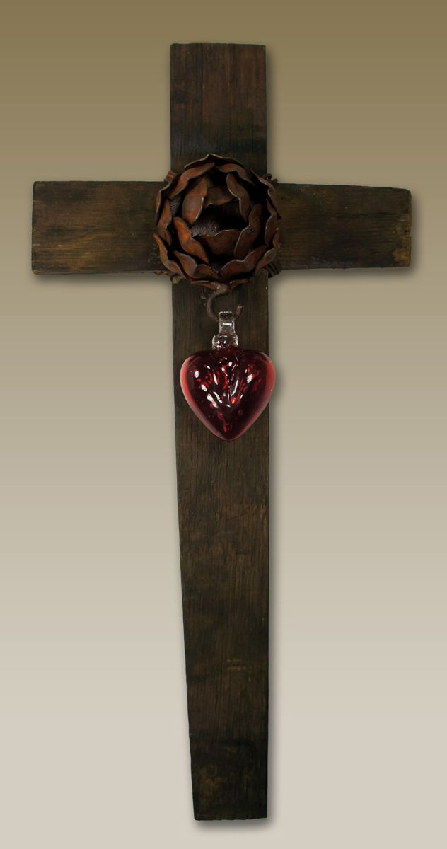 Red Glass Heart Wall Cross - Large