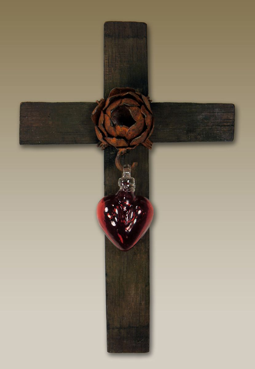 Red Glass Heart Wall Cross - Medium