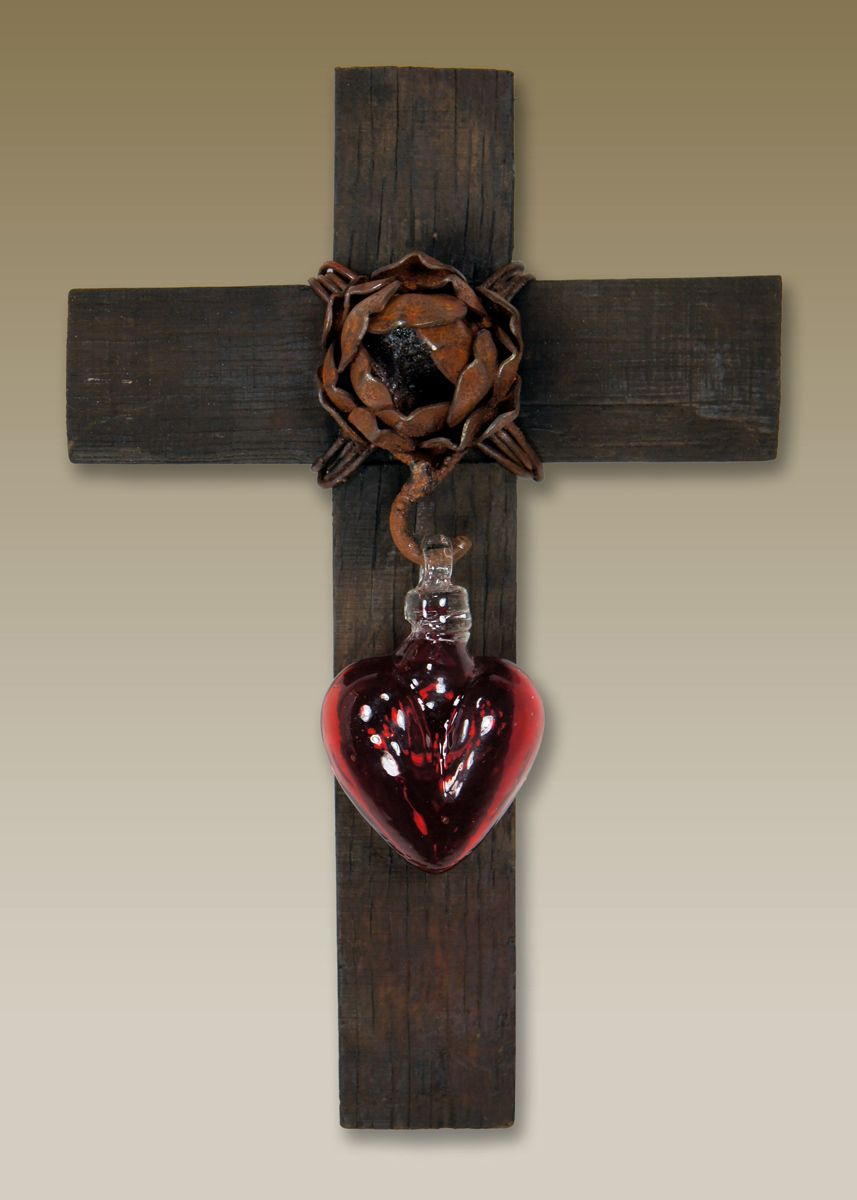 Red Glass Heart Wall Cross - Small