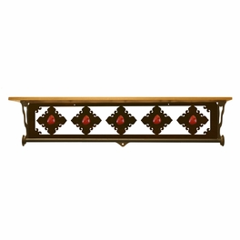 Red Jasper Stone Bath Wall Shelf - 34 Inch