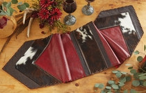 Red Leather & Cowhide Table Runner - 12 x 54