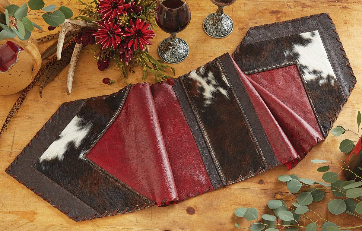 Red Leather & Cowhide Table Runner - 14 x 72