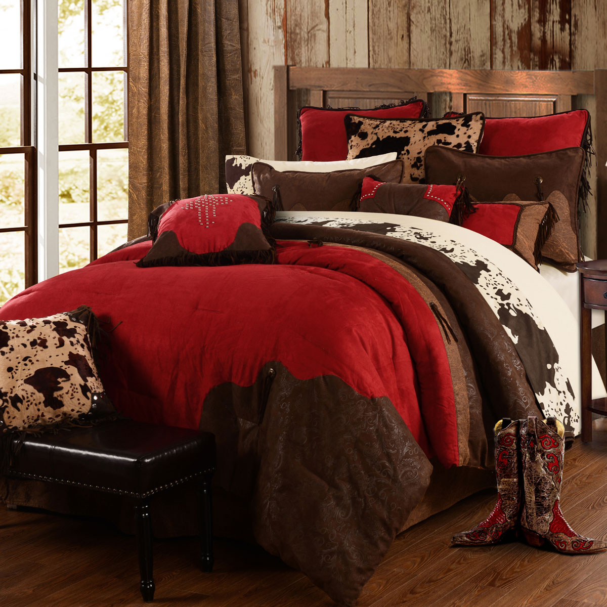 Western Bedding: King Size Red Rodeo Bed Set|Lone Star Western Decor