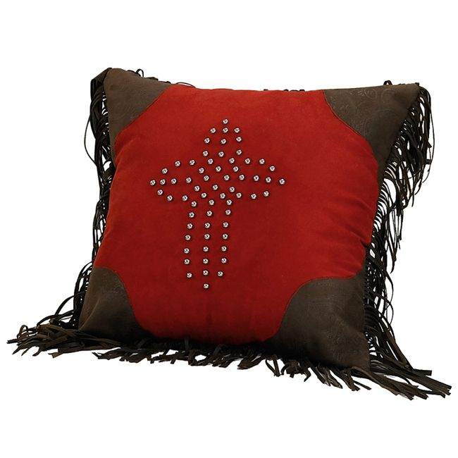 Red Rodeo Studded Cross Pillow