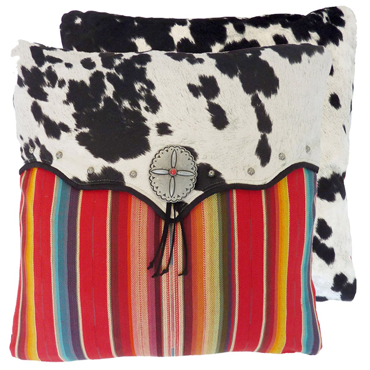 Red Serape and Faux Cowhide Pillow