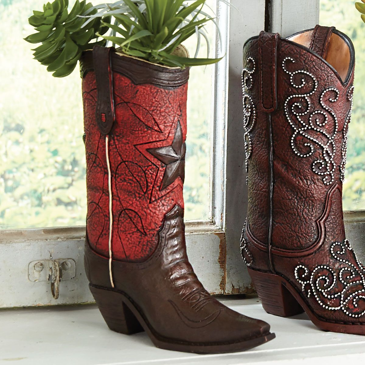 Red Star Cowboy Boot Vase