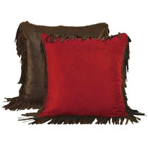 Red Suede and Faux Leather Fringed Euro Sham