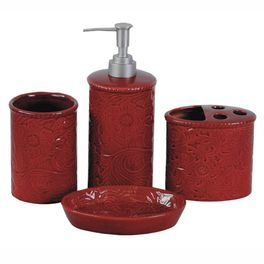 Red Tooled Ceramic Bath Set - 4 pcs