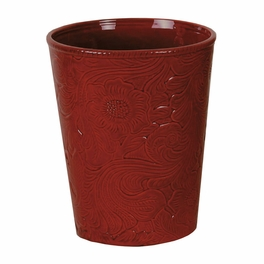 Red Tooled Ceramic Waste Basket