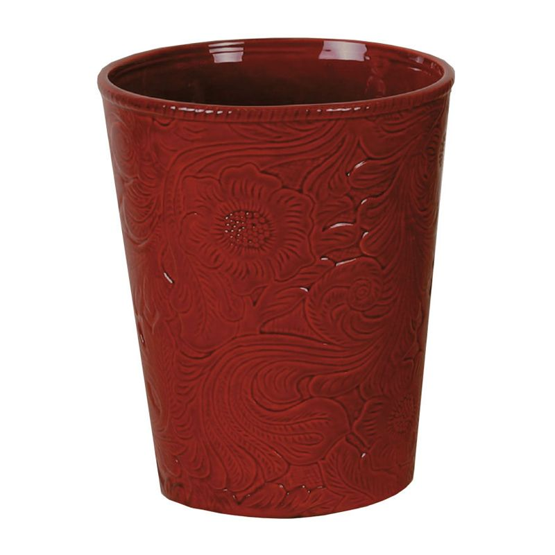 Red Tooled Ceramic Waste Basket - OUT OF STOCK UNTIL 5/25/2021