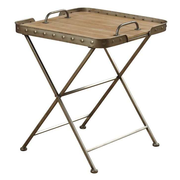 Removable Wood Top Folding Side Table