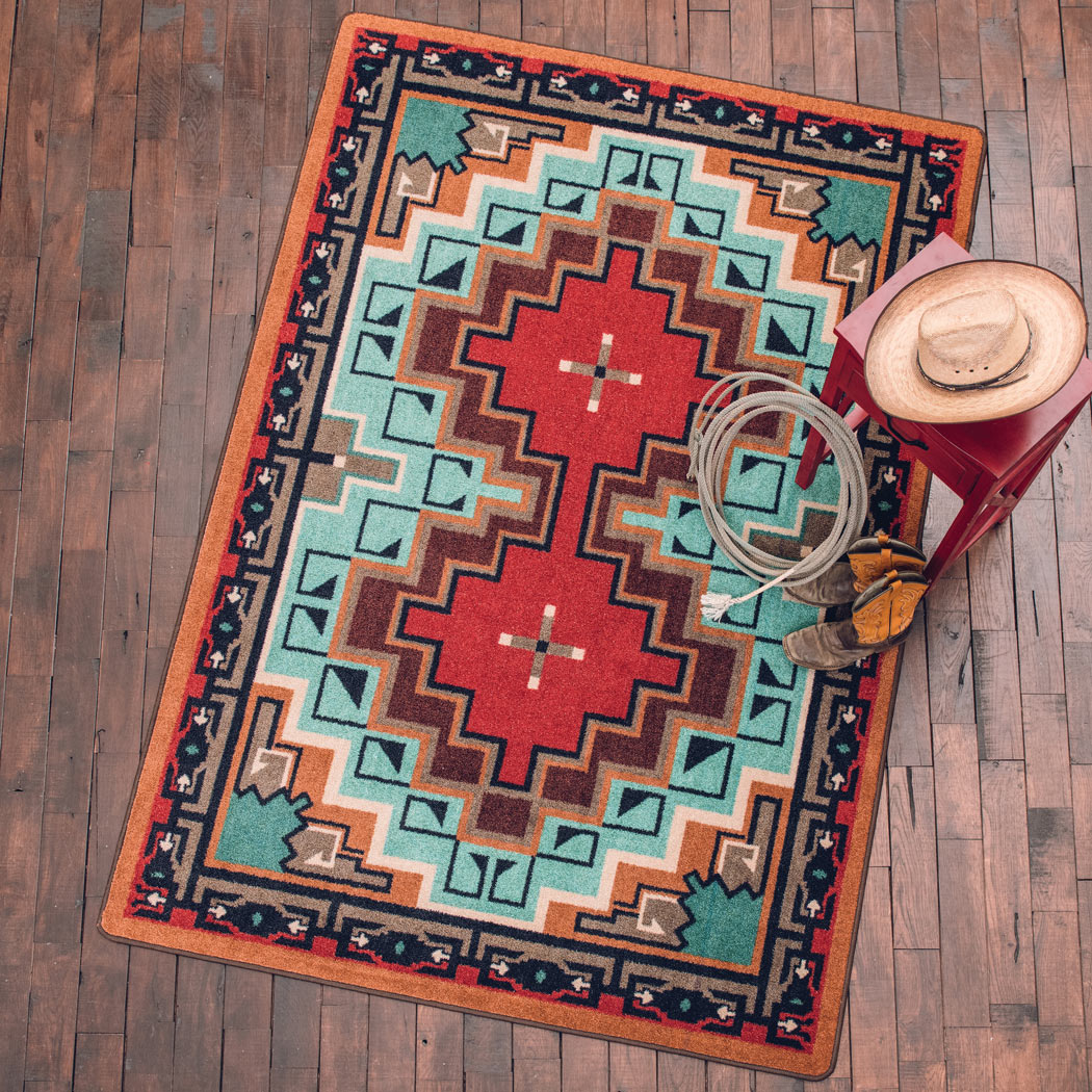 Reservations Turquoise Rug - 5 x 8