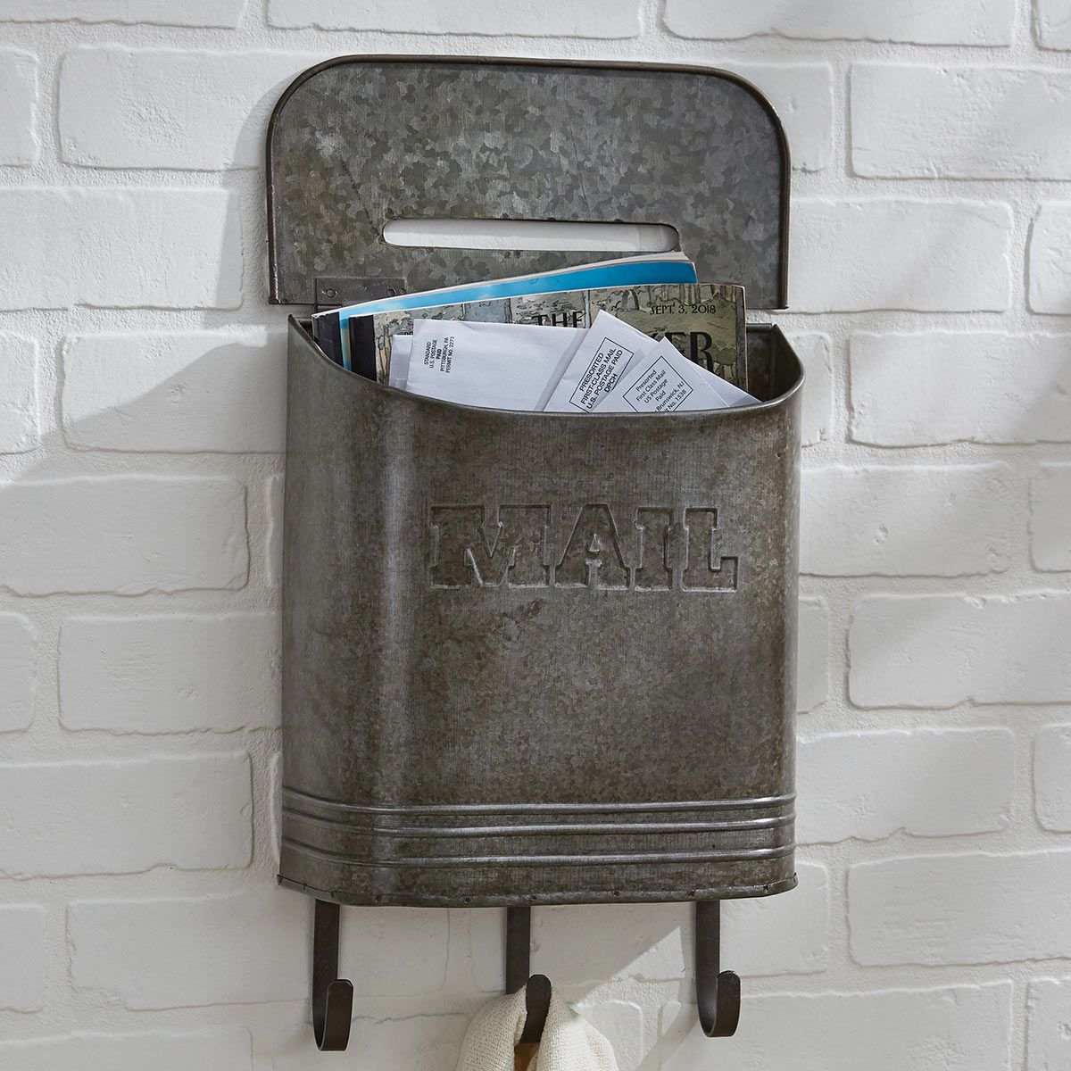 Retro Galvanized Mailbox with Hooks