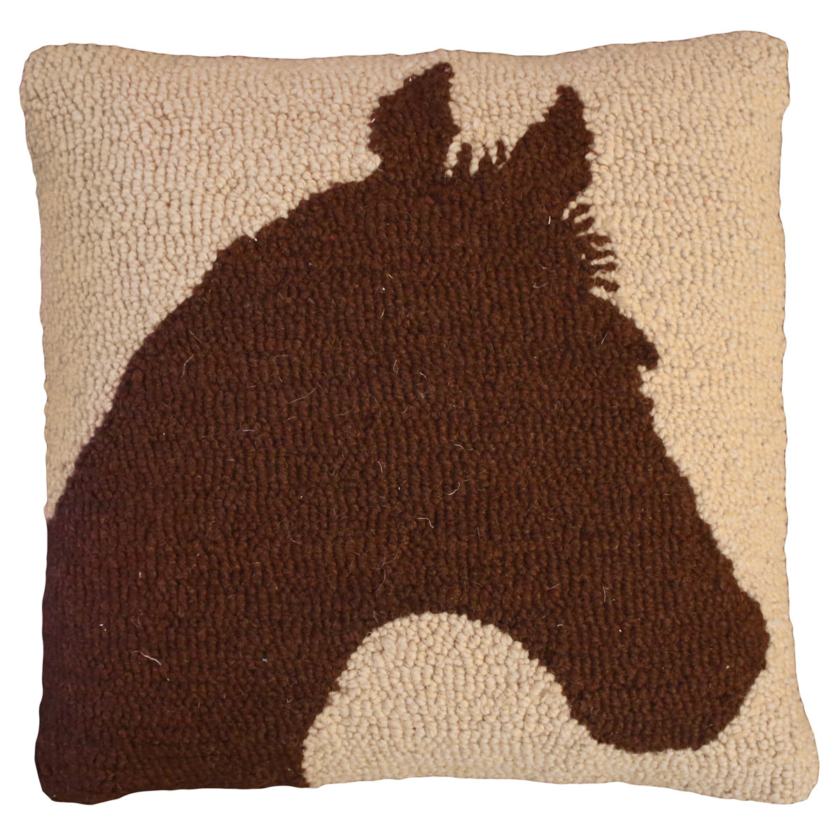 Reverse Silhouette Horse Hooked Wool Pillow
