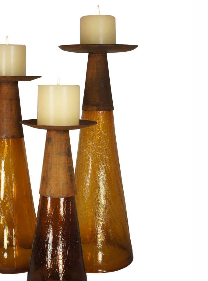 Reversible Candle Holder / Vase with Crackled Amber Glass and Candle - Large