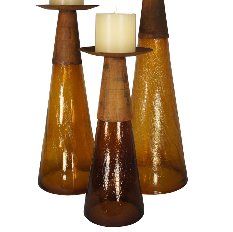 Reversible Candle Holder / Vase with Crackled Amber Glass and Candle - Small