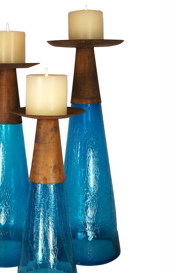 Reversible Candle Holder / Vase with Crackled Turquoise Glass and Candle - Large