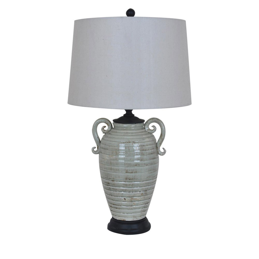 Ribbed Gray Pot Table Lamp