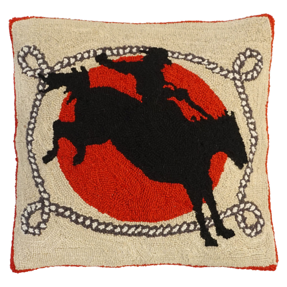 Ride Em Hooked Wool Pillow