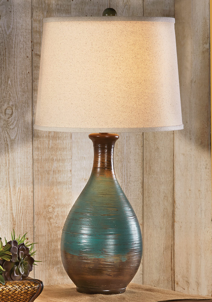 Rippling Water Turquoise Table Lamp
