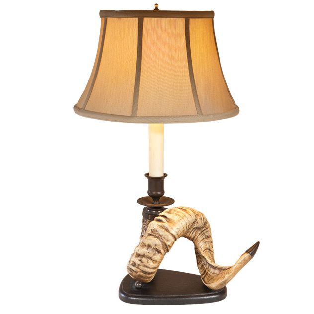 Right Facing Ram Horn Table Lamp with Linen Shade