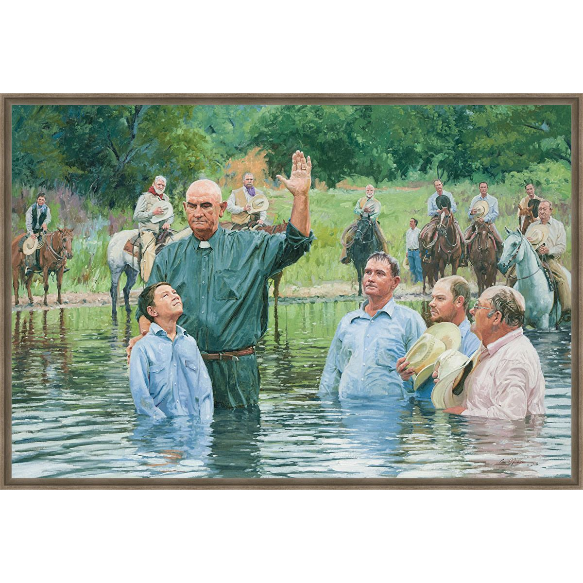 River Baptism Framed Canvas