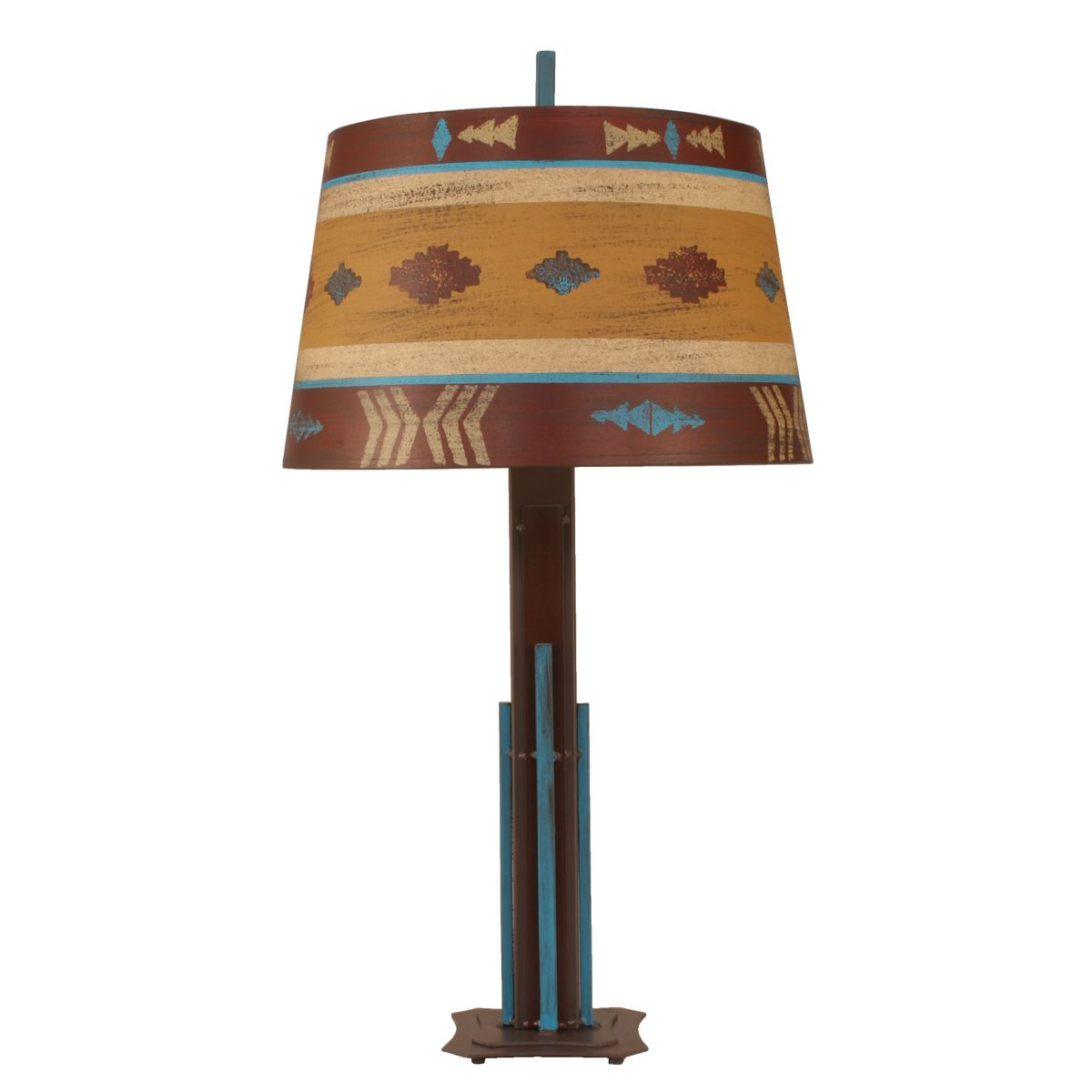 Rod Iron Table Lamp with Colorful Southwestern Shade