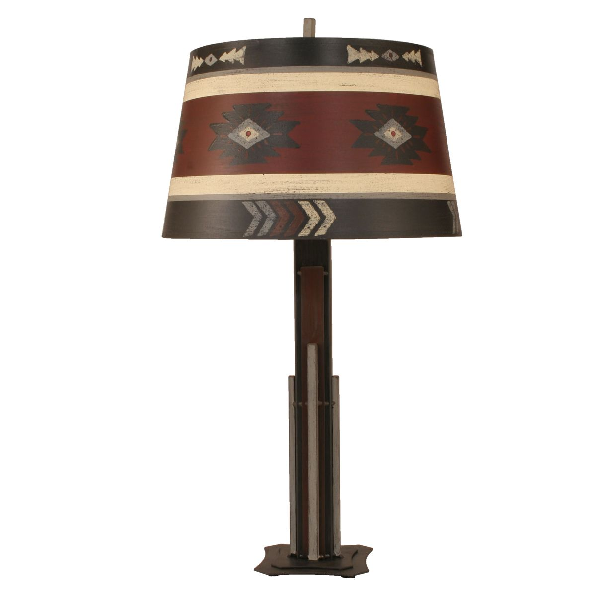 Rod Iron Table Lamp with Muted Southwestern Shade