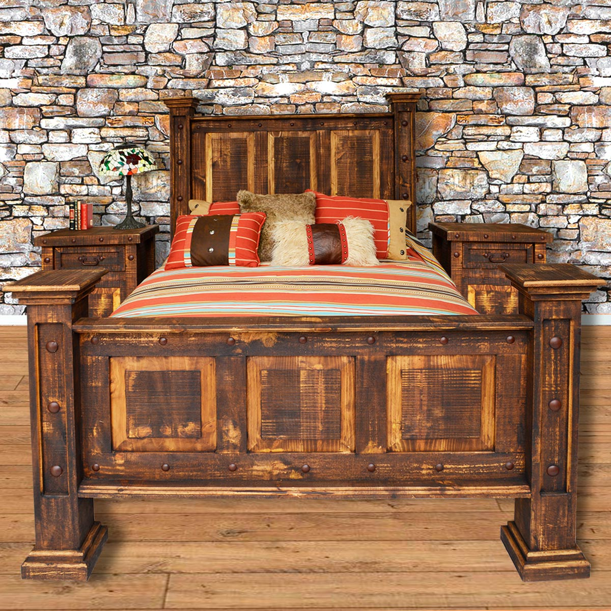 Rough Cut Pine Bed - King